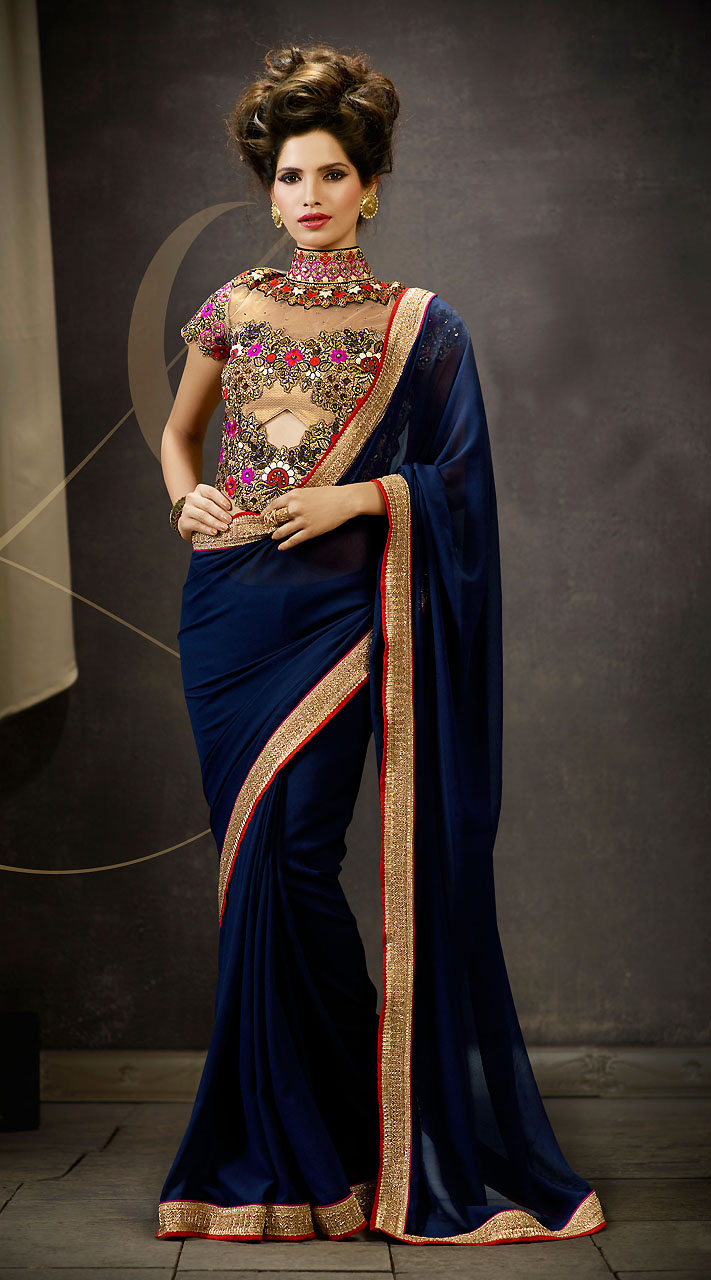 5 Awesome Border Sarees With Designer Blouse Ideas