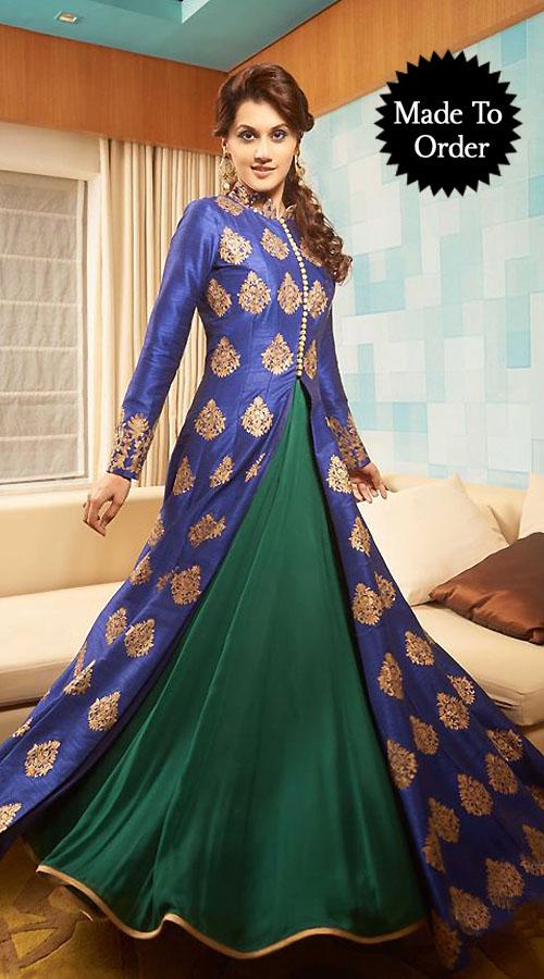 Fashionable Blue And Teal Premium Fabric Replica Designer Floor