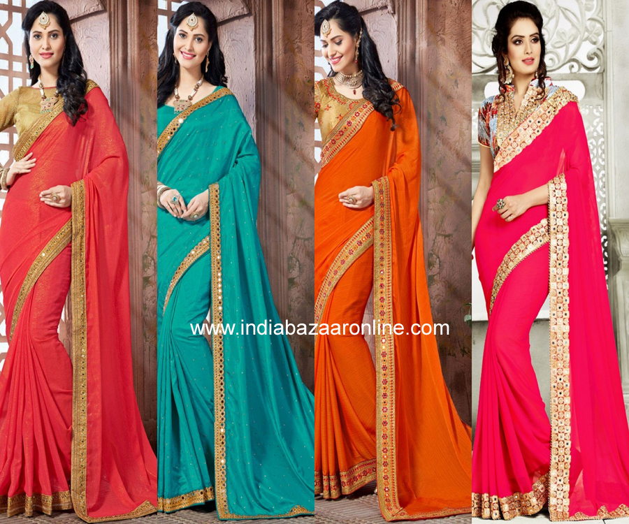Saree border designs indian fashion mantra for Mirror work saree