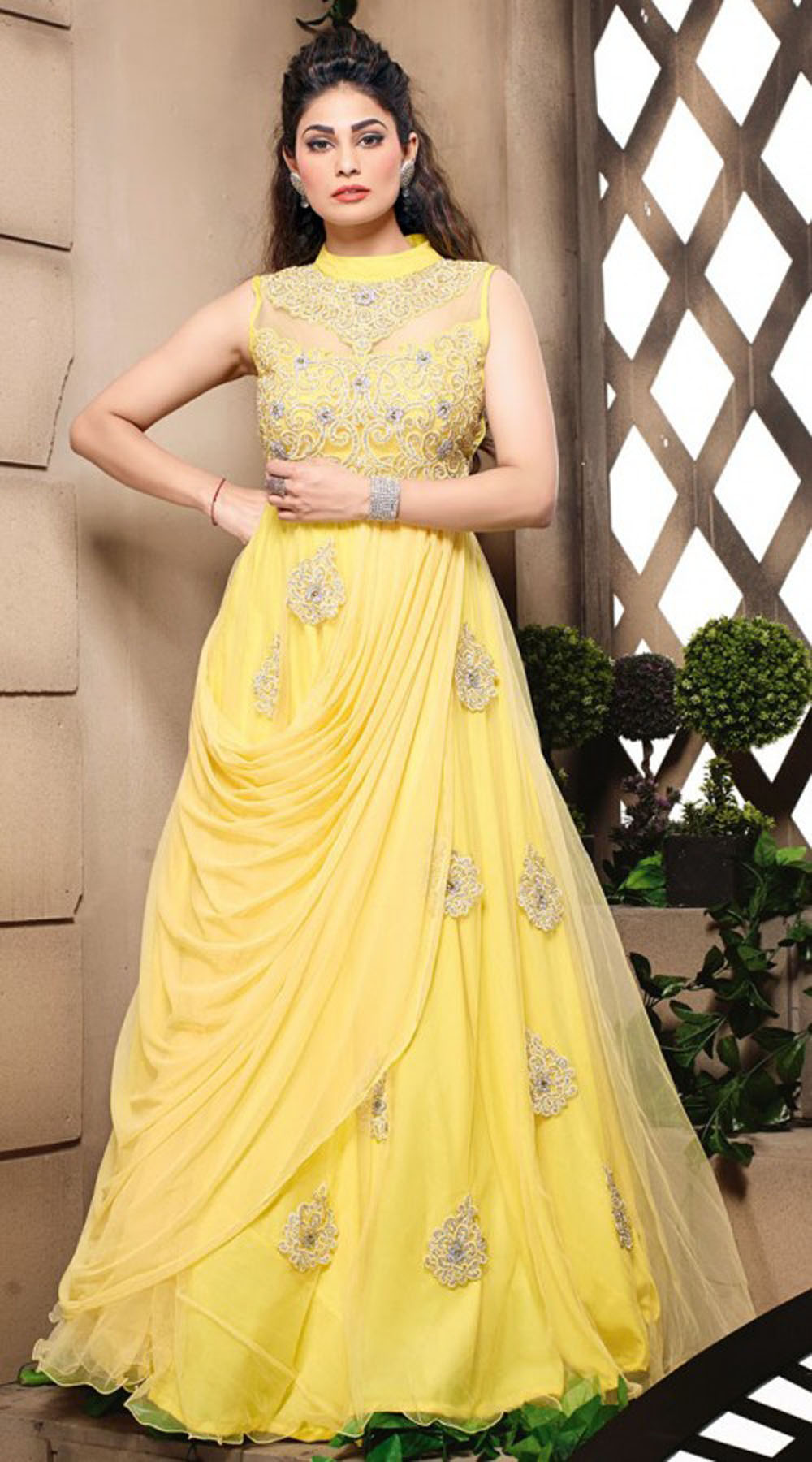 fashionable-yellow-net-yoke-embroidered-indowestern-gown-3fd3895834 ...