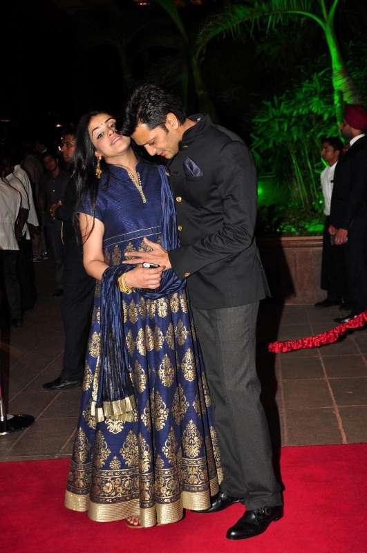 Mumbai: Actor Riteish Deshmukh along with his wife Genelia D\'Souza ...