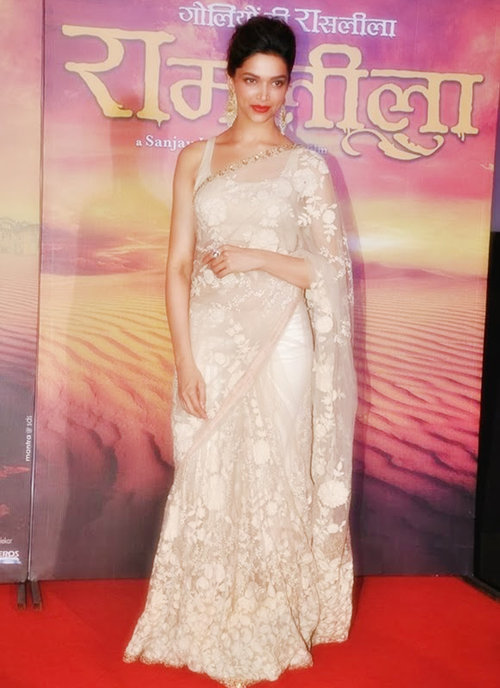 deepika-padukone-saree-ram-leela-trailer-launch – Indian Fashion Mantra