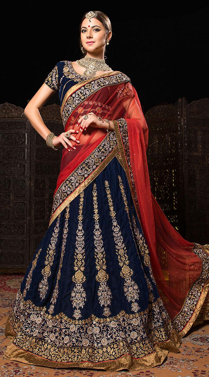 red and royal blue bridal lehenga wwwpixsharkcom