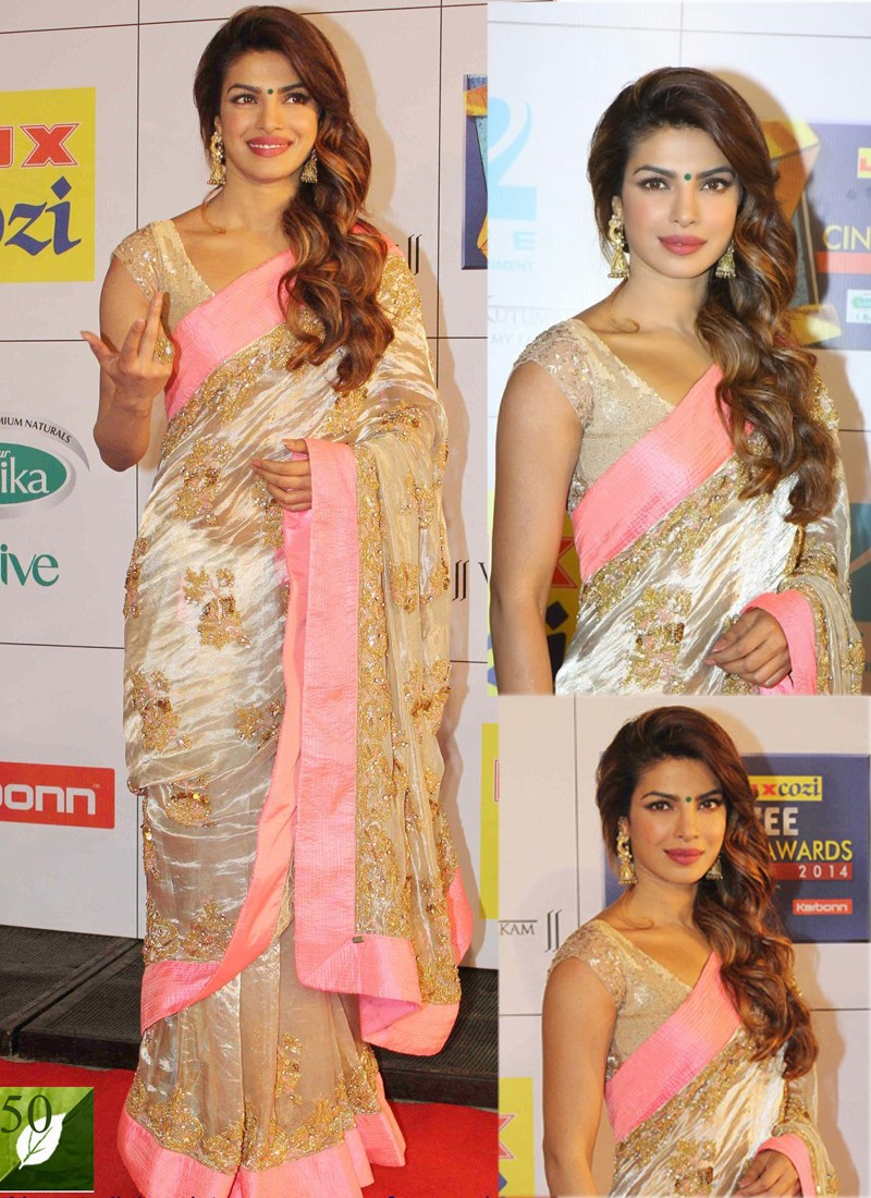 bed2ac25ae03 Bollywood-Actress-Priyanka-Chopra-Peach-amp-Light-Pink -Sequins-And-Stone-Work-Silk-Georgette-Party-Wear -Saree-bd5666e5-57d1-4bdf-b98a-89b925d8beb3