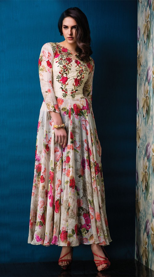 Amazing Off White Net And Raw Silk Floral Rose Print Kurti