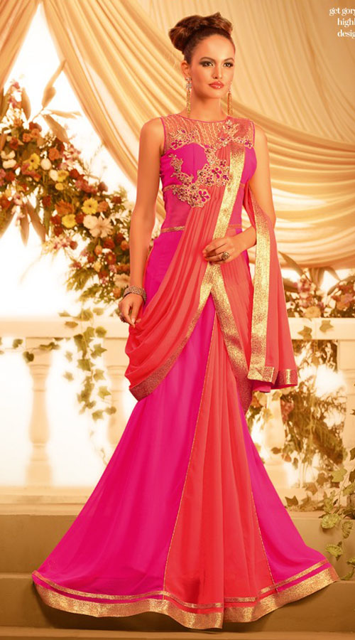 beautiful-pink-georgette-designer-indowestern-saree-style-gown ...