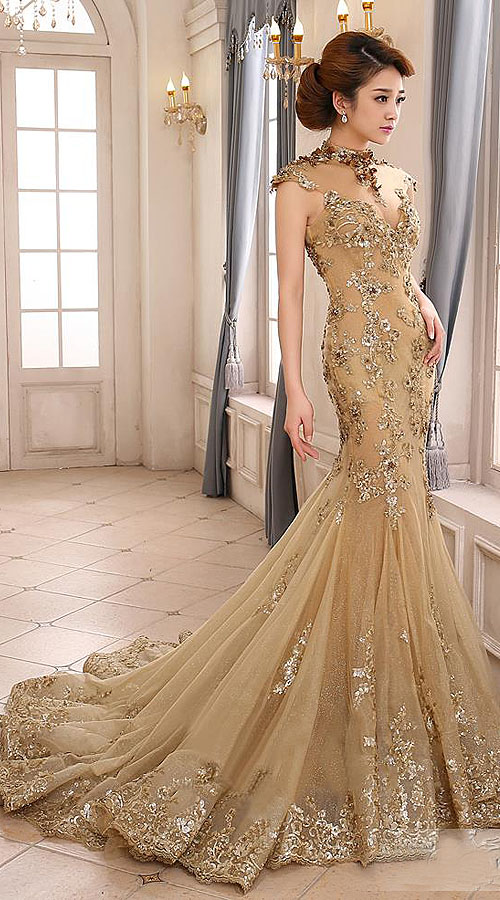 Glamorous beige net heavy work embroidered floor touch for Floor touch gown