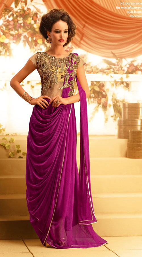 fashionable-yoke-embroidered-purple-net-designer-indowestern-gown ...