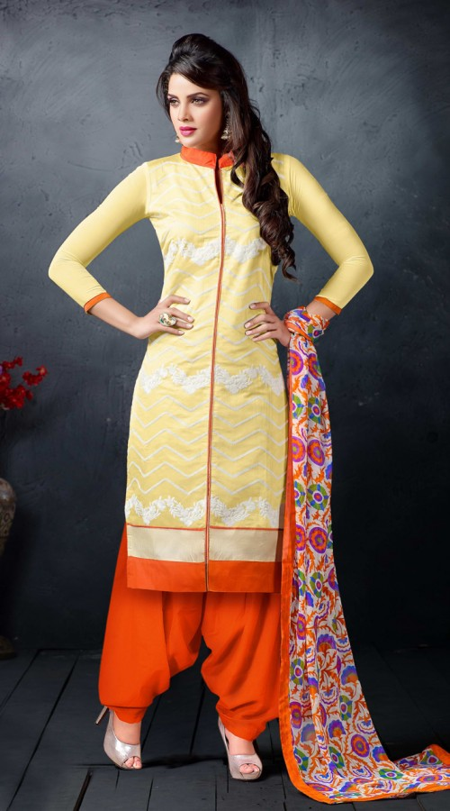 7c445233eb classy-light-yellow-and-orange-chanderi-cotton-patiala-salwar-kameez -5h5411__87019_std