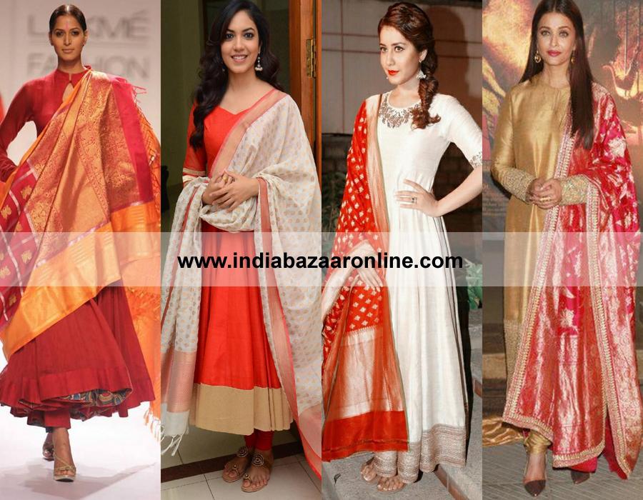 plain-anarkali-banarasi-silk-dupatta – Indian Fashion Mantra
